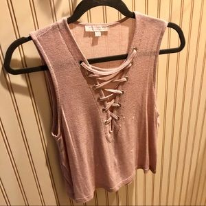 American Eagle Outfitters Tops - Light pink lace up tank